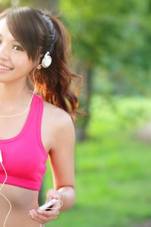 Asian Girl in Pink Running
